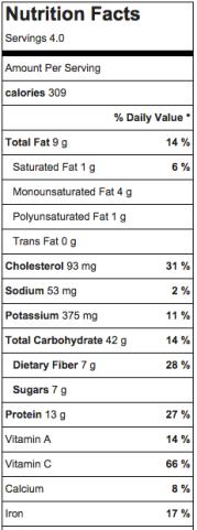 Quinoa Veggie Mix ntrn facts